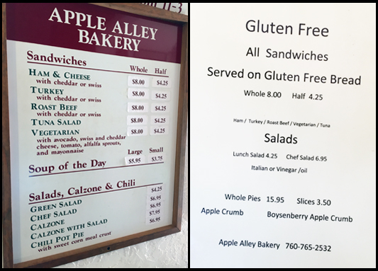 A Sampling of Gluten-free Eateries in Julian, California