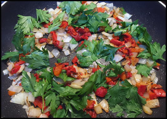 Chopped parsley, onion, bell pepper
