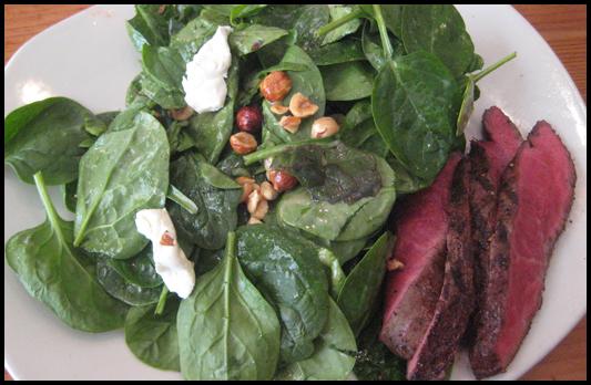 Tender Greens Baby Spinach Salad w/ steak gluten free