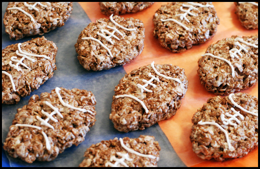 Gluten-free Crispy Football Treats ~ Opa! Cocoa Pebbles!